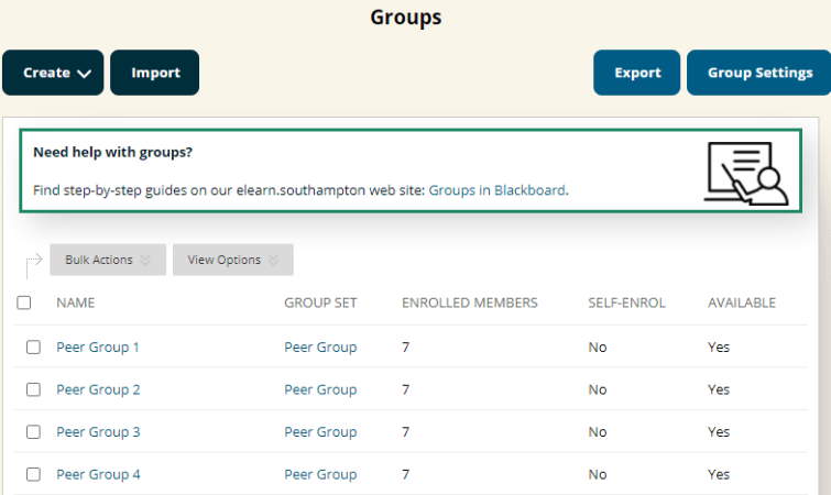 Four groups set up in Blackboard