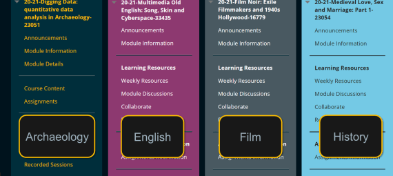 Example menu colour schemes used across Archaeology, English, Film, and History modules in Blackboard.