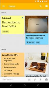 Notes in Google Keep.