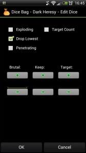 Configuración extendida de tiradas de Dice Bag.