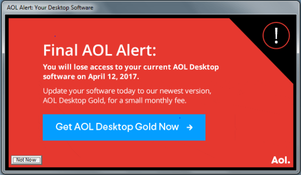 AOL Desktop final alert message