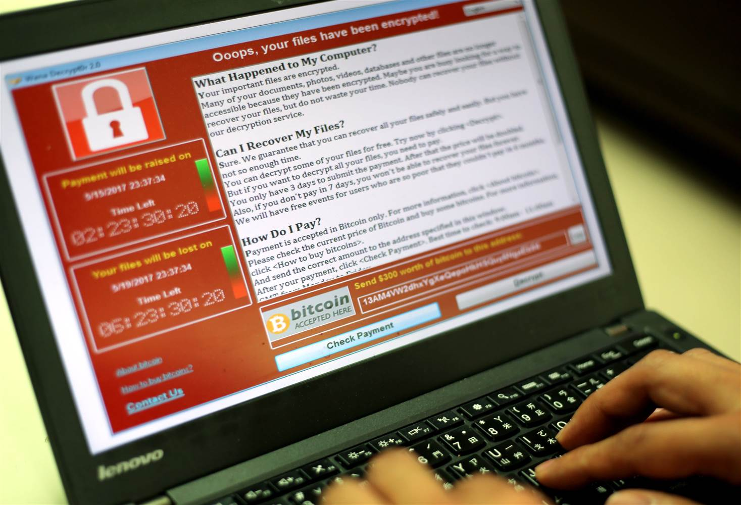 Computer infected with WannaCry