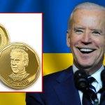 """Ukraine treasury honors Joe Biden with a """"zero cents"""" coin"""