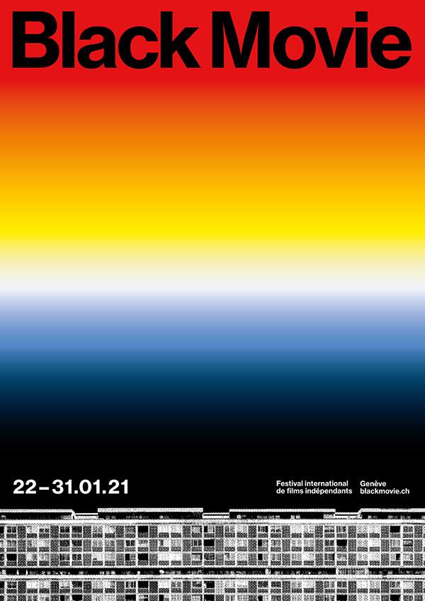 affiche degradé rouge à bleu pour le festival Black Movie