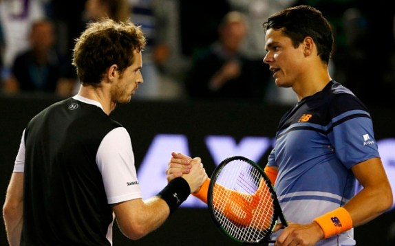Britain's Andy Murray (L) and Canada's Milos Raonic shake hands after Murray won their semi-final match at the Australian Open tennis tournament at Melbourne Park, Australia, January 29, 2016. REUTERS/Thomas Peter