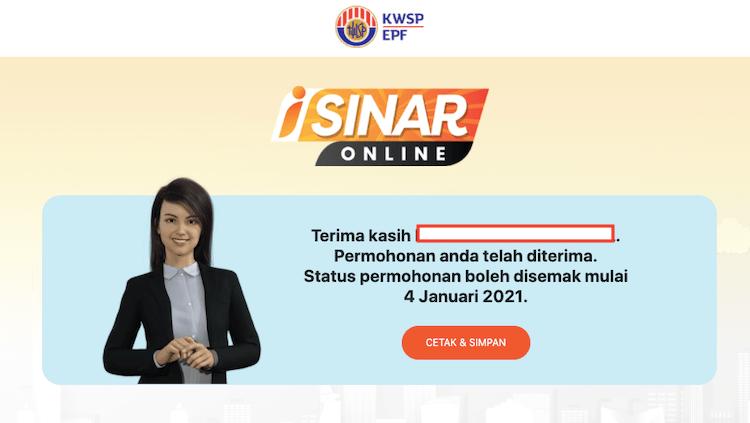 borang iSinar KWSP Online