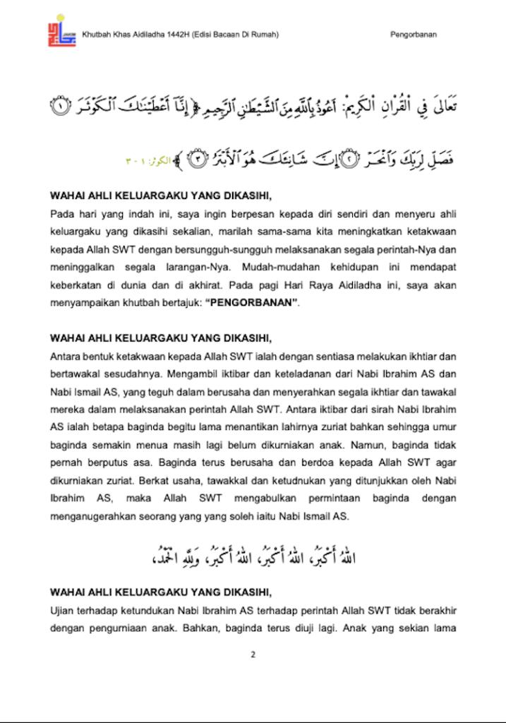 Khutbah Raya Haji di rumah 3