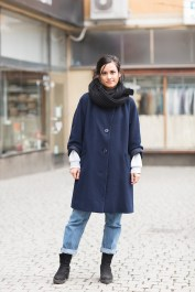 wearing a vintage coat from Emmaus, vintage boots and vintage Levi's jeans and a scarf from H&M
