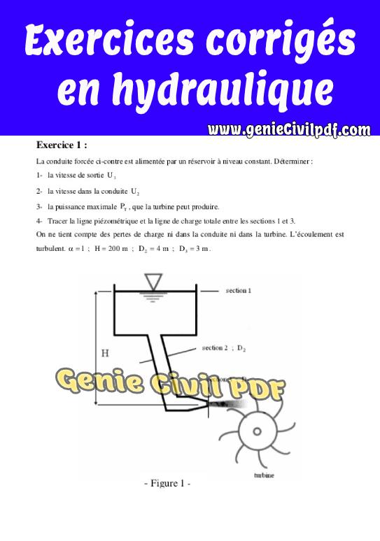 Exercices corrigés en hydraulique