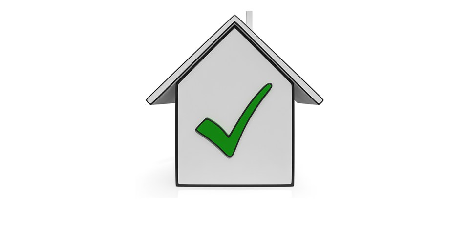 a house with a green checkmark on it