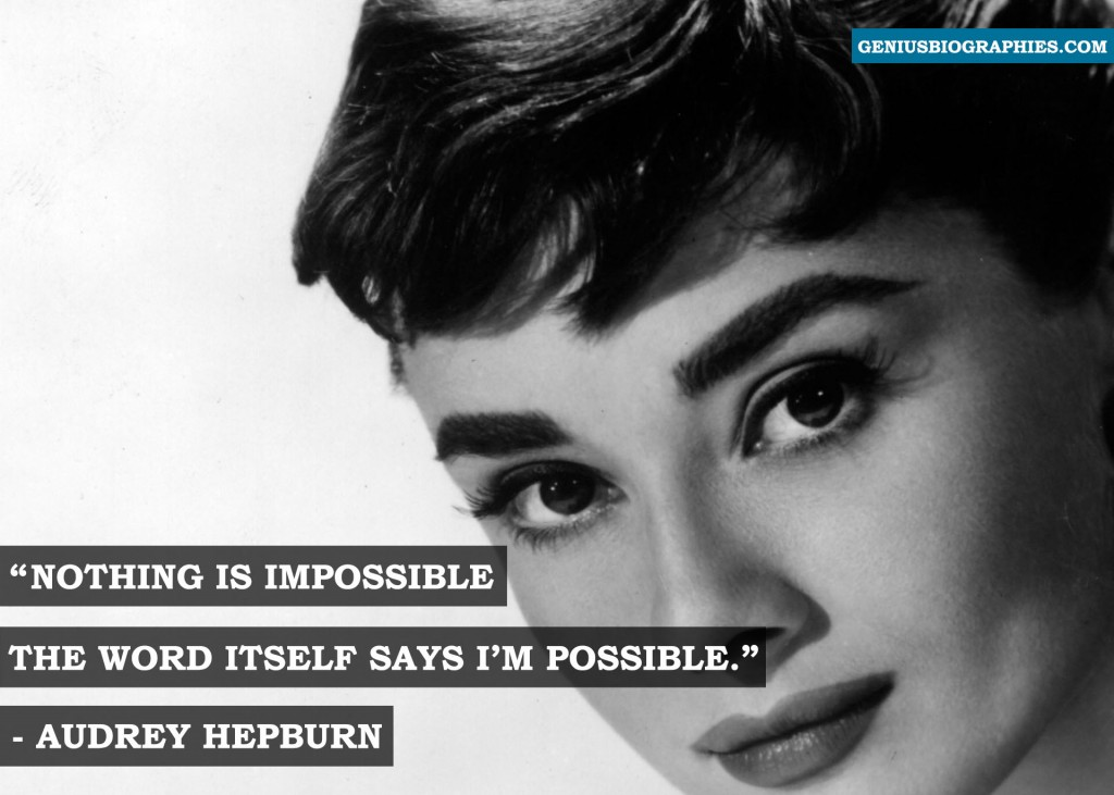 Nothing is impossible; the word itself says 'I'm possible'! - Audrey Hepburn