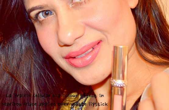 La Prairie Cellular Lip Colour Effect in Maribou Glace over Matte Lipstick
