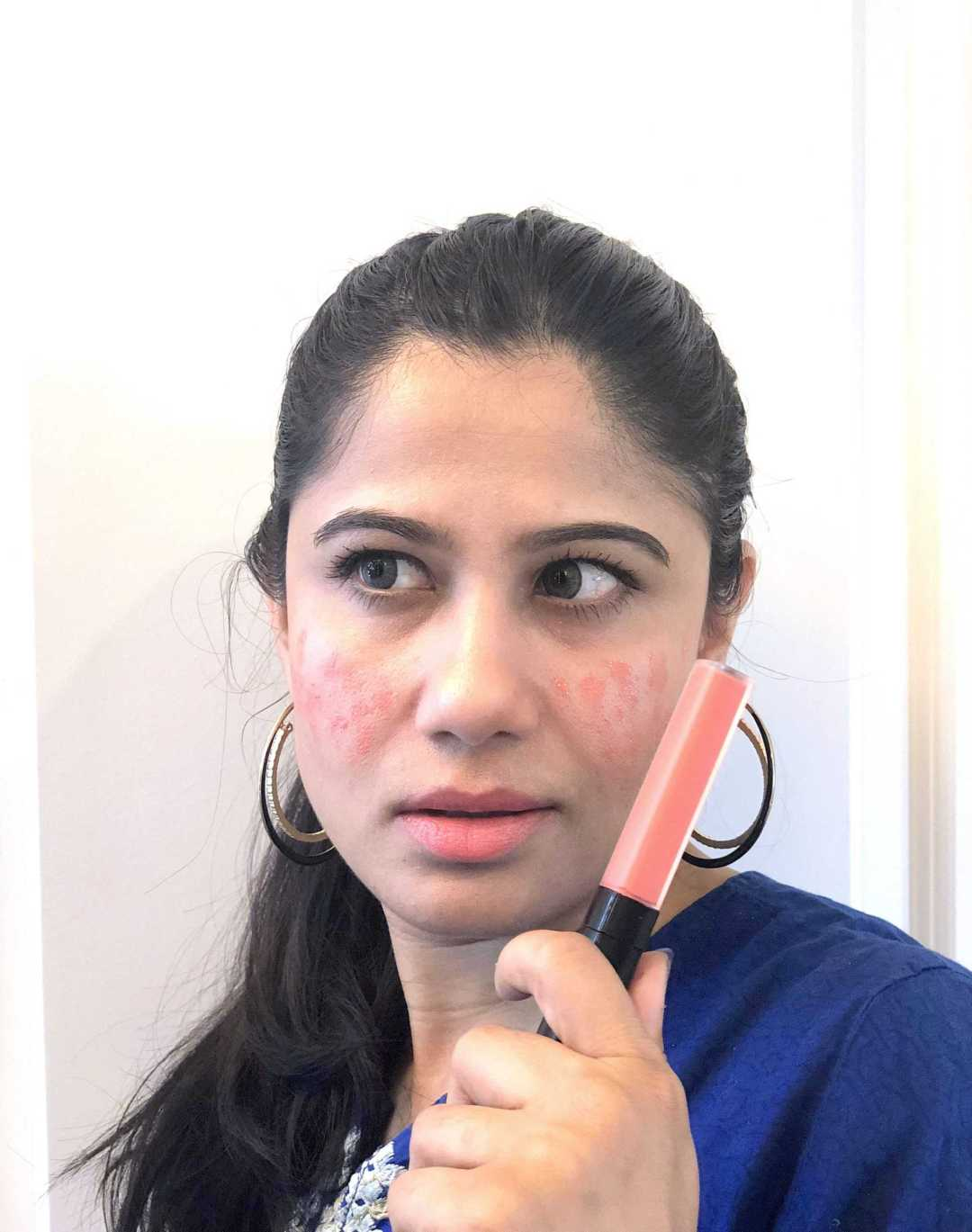 Chanel Rouge Coco LIp Blush on Cheeks and Lips