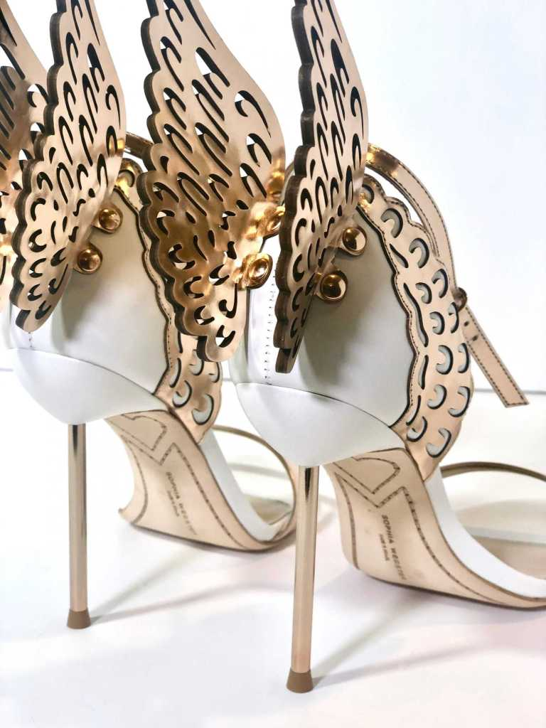 showing 3D details of Angel wings of Sophia Webster Sandal