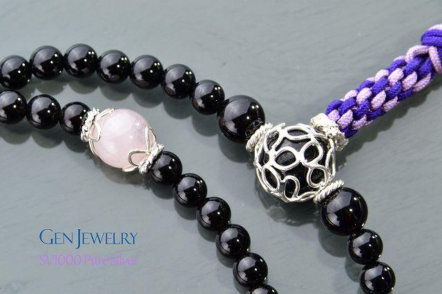 【華数珠】渋く華麗なオニキスの長数珠-2