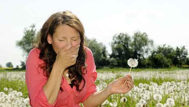 junge frau niest auf einer blumenwiese