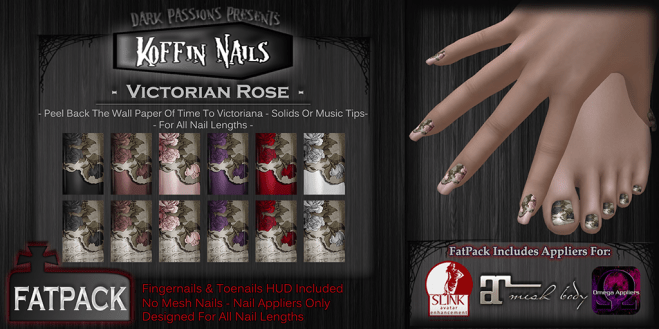 Dark Passions - Koffin Nails - Fatpack - Victorian Rose
