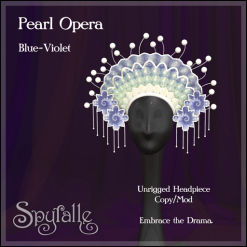 Spyralle Pearl Opera Headpiece - Blue-Violet