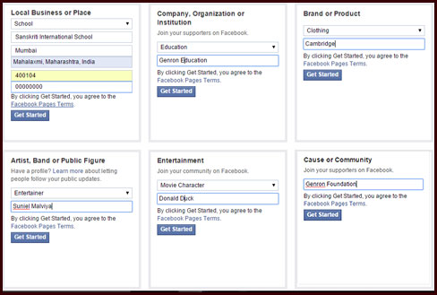 Select Business Category for Facebook Page