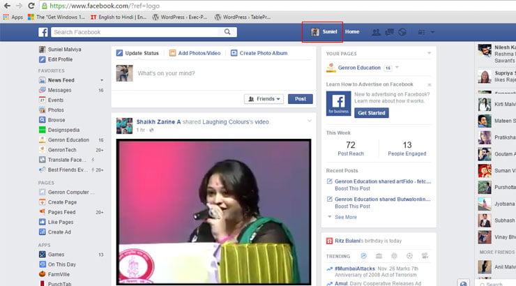 Click for Facebook Profile Button