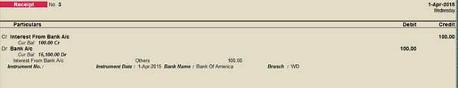 f6 interest receipt entries in tally