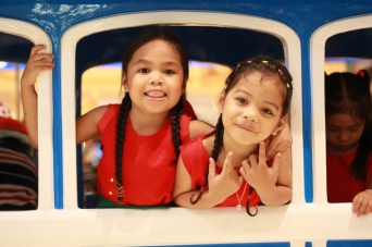 Children share a fun moment on the train ride at SM City Davao.