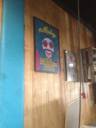 Poster of the band The Nudge, San Fran Bar, Cuba Street, Designer: Willie Devine. Design