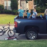 Boyhood swords, guns, trucks and bikes, all used in pursuit of serving and protecting the family and neighborhood. Strength is only dangerous if not channeled in the right direction. Love these dudes.%0A#boyslife
