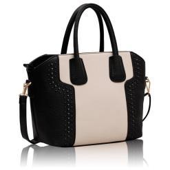 Geanta dama Andreea - alb si negru - geanta mana