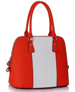 Geanta dama Dorina - alb și portocaliu - geanta mana