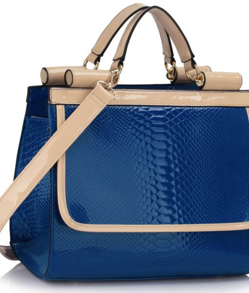 Geanta dama Stela-albastru cu bej-geanta umar