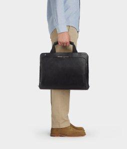 servieta business, geanta neagra din piele naturala, genti de umar