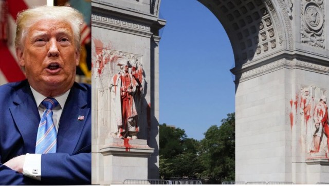 Trump Threatens Protesters Who Threw Red Paint On A George Washington Statue With 10-Year Prison Sentence