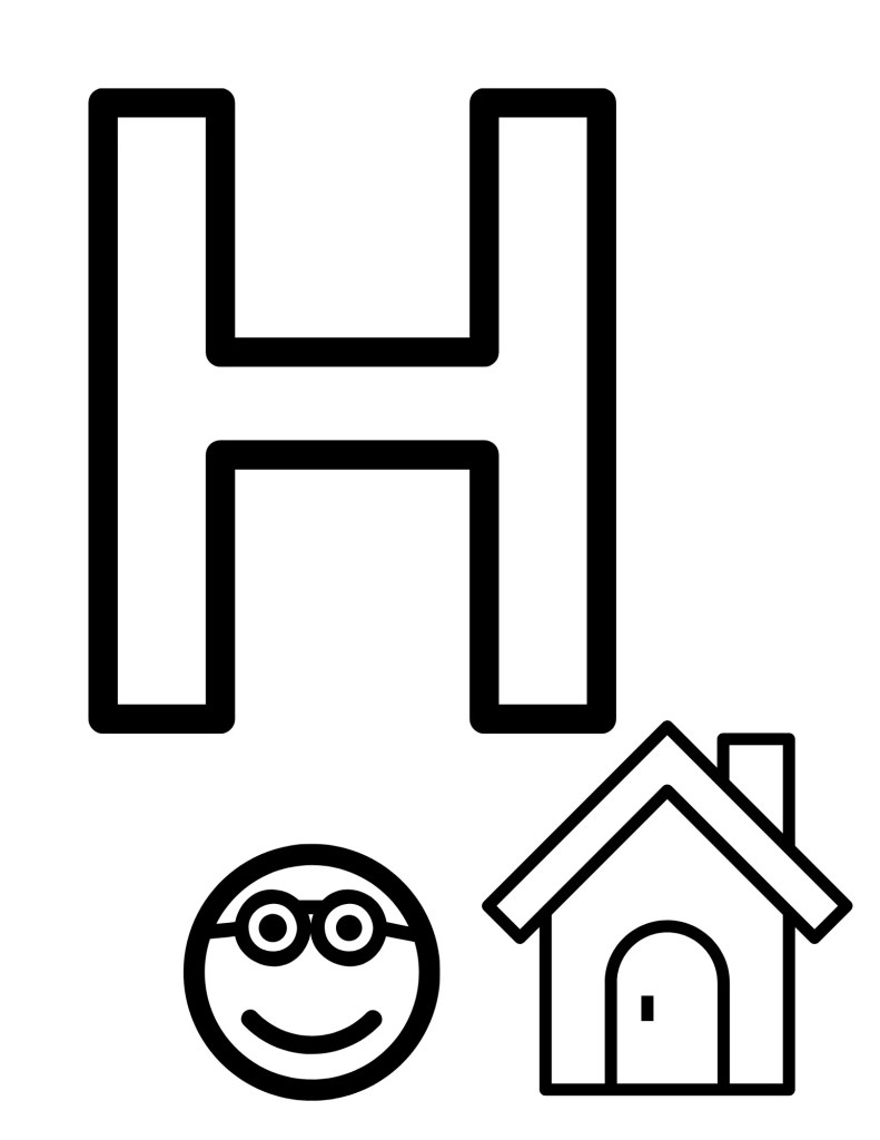 image of H coloring page for toddlers