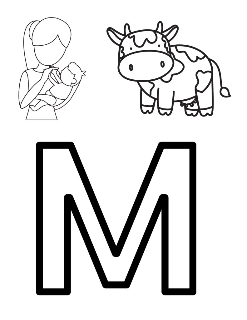 image of M coloring page for toddlers