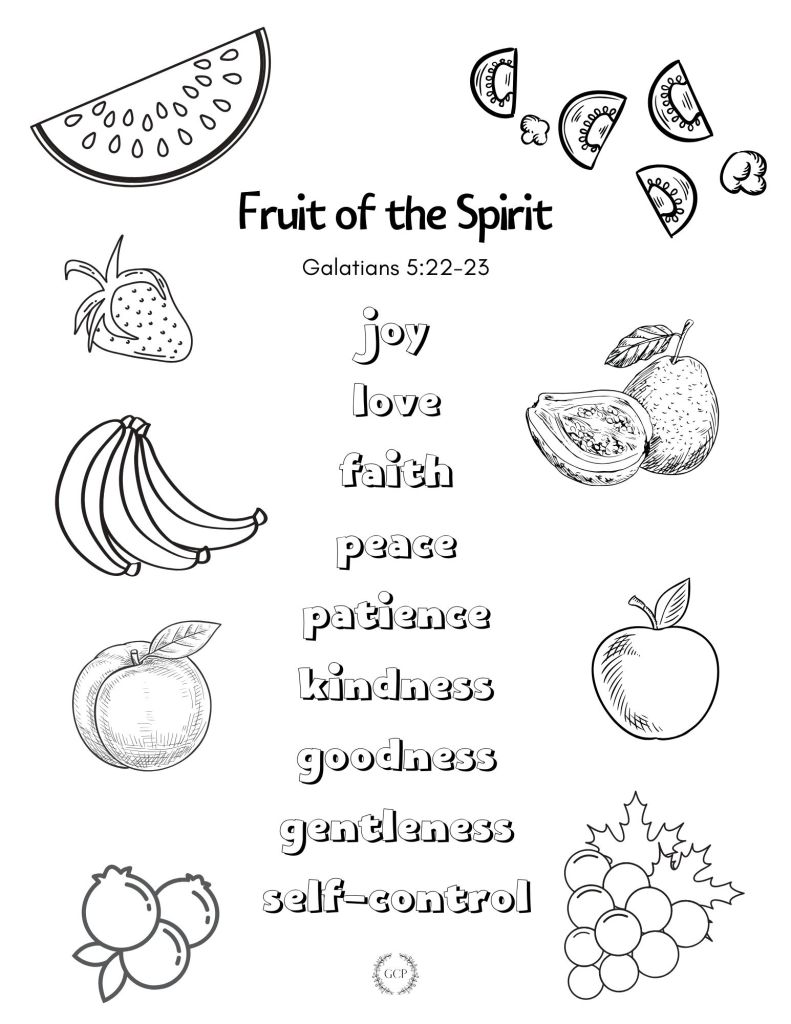 image of kid's bible verse coloring page - fruit of the Spirit