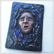 Artist Trading Card Daily - 100 - Air Dry Clay Face 3