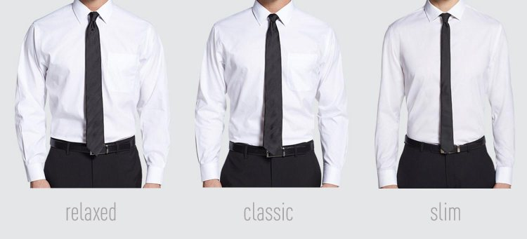Dress shirt fit comparison