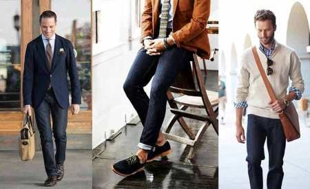 Dark Blue Jeans Casual Office Looks