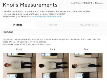 black lapel measurement photos