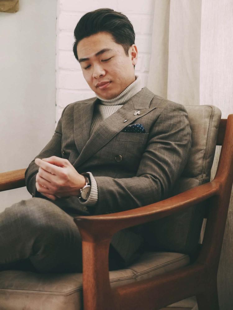 Turtleneck Under Suit Jacket Sitting