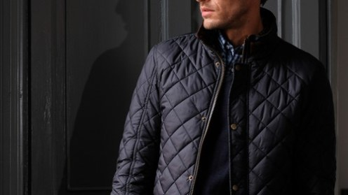 Navy quilted jacket.