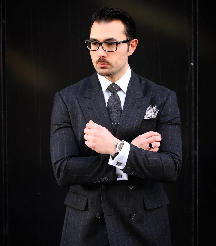 Black suit with a contrasting pocket square!