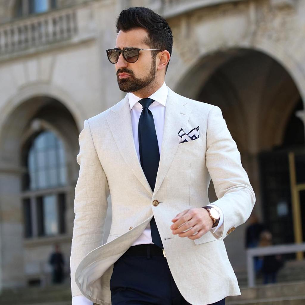 White blazer with a nice pocket square.