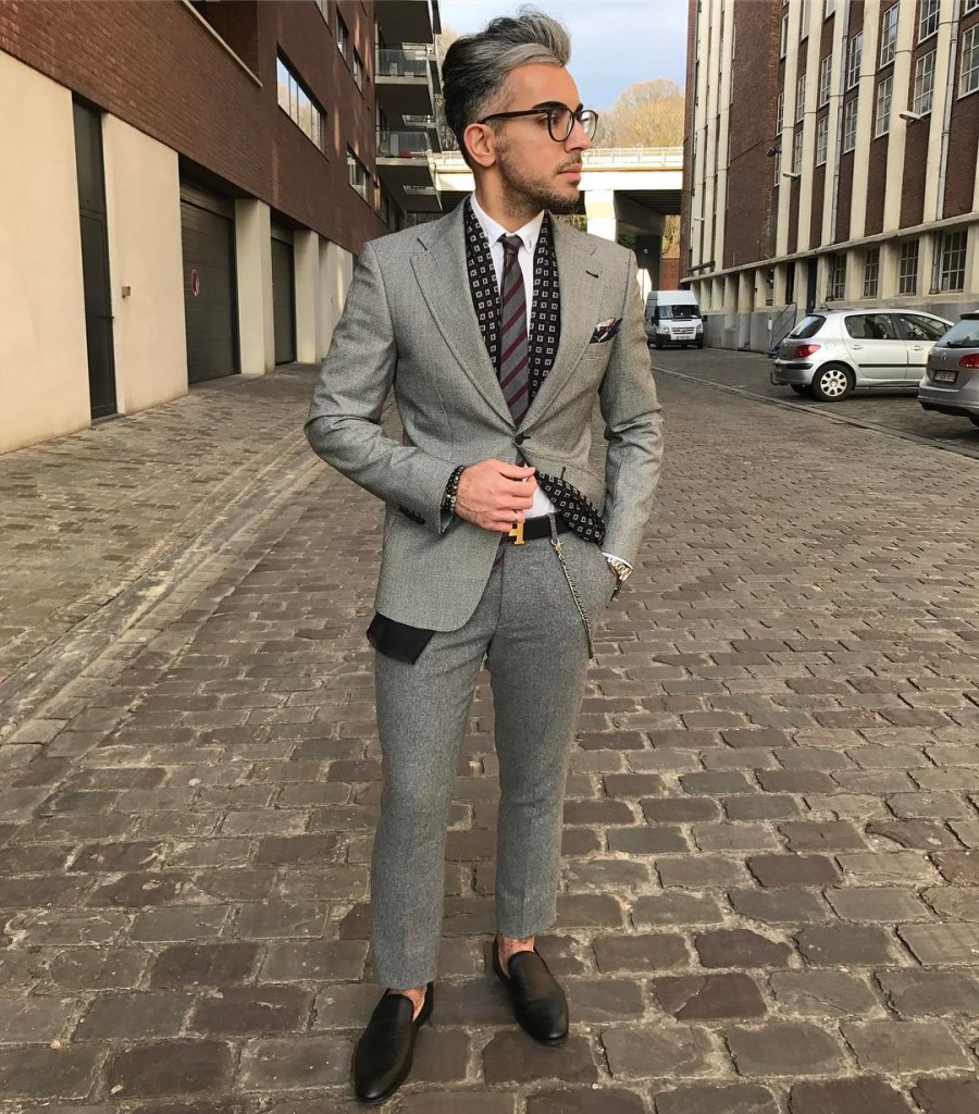 Grey suit with a nice pocket square