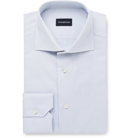 A white wide-spread collar button-up is always a solid choice.