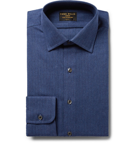 Blue Slim-Fit Herringbone Brushed-Cotton Shirt