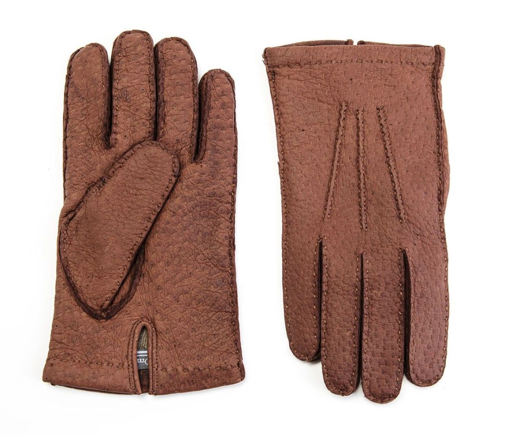 OMEGA SRL TOBACCO CASHMERE LINED PECCARY GLOVES