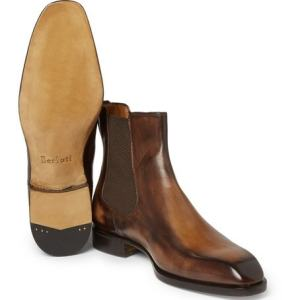 Brown polished chelsea boots by Berluti