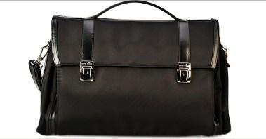servieta sport eleganta, geanta din piele si duratex, geanta neagra pt laptop, 45x28x17cm